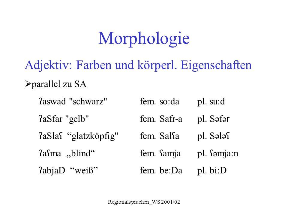 Regionalsprachen_WS 2001/02 Morphologie Adjektiv: Farben und körperl. Eigenschaften  parallel zu SA ʔ aswad