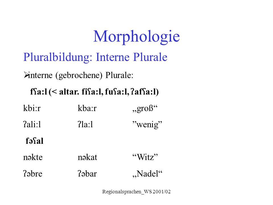 Regionalsprachen_WS 2001/02 Morphologie Pluralbildung: Interne Plurale  interne (gebrochene) Plurale: f ʕ a:l (< altar. fi ʕ a:l, fu ʕ a:l, ʔ af ʕ a: