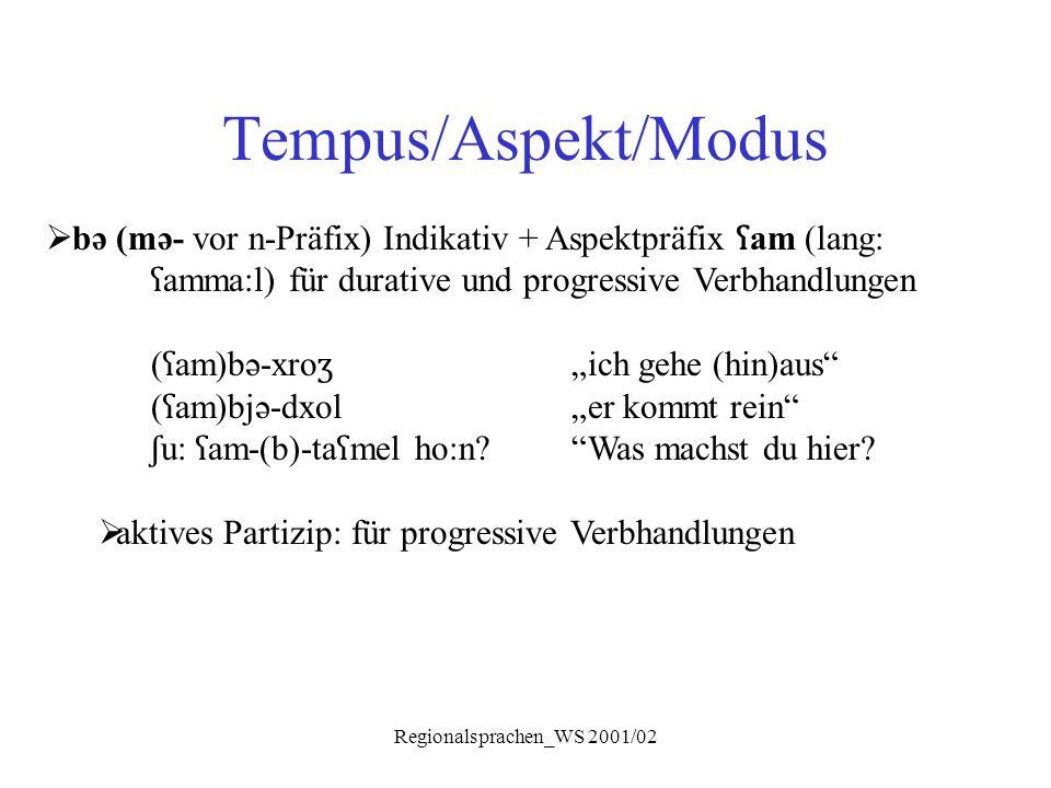 Regionalsprachen_WS 2001/02 Tempus/Aspekt/Modus  bə (mə- vor n-Präfix) Indikativ + Aspektpräfix ʕ am (lang: ʕ amma:l) für durative und progressive Ve