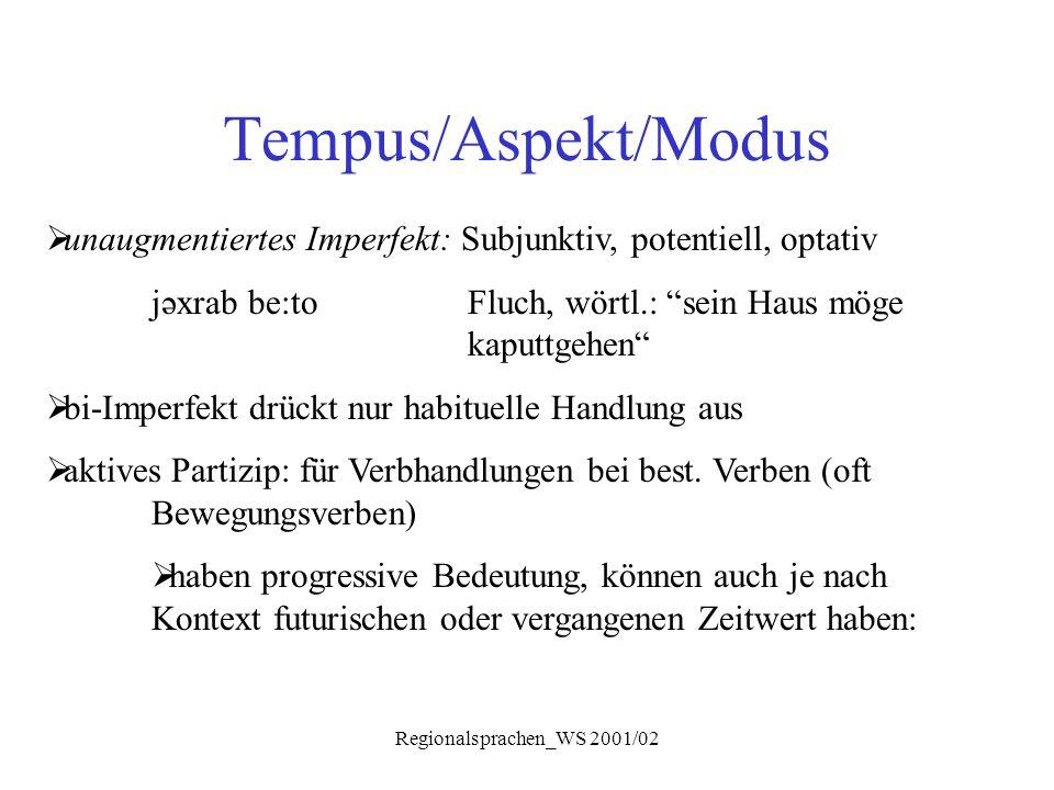 """Regionalsprachen_WS 2001/02 Tempus/Aspekt/Modus  unaugmentiertes Imperfekt: Subjunktiv, potentiell, optativ jəxrab be:toFluch, wörtl.: """"sein Haus mög"""
