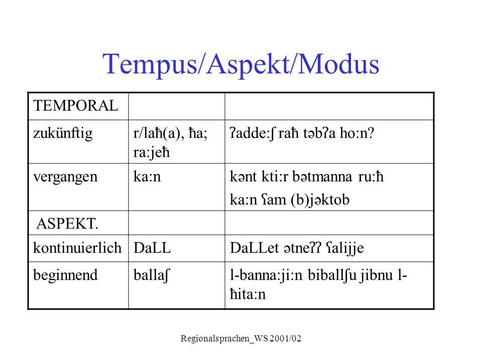 Regionalsprachen_WS 2001/02 Tempus/Aspekt/Modus TEMPORAL zukünftigr/laħ(a), ħa; ra:jeħ ʔ adde: ʃ raħ təb ʔ a ho:n? vergangenka:n kənt kti:r bətmanna r