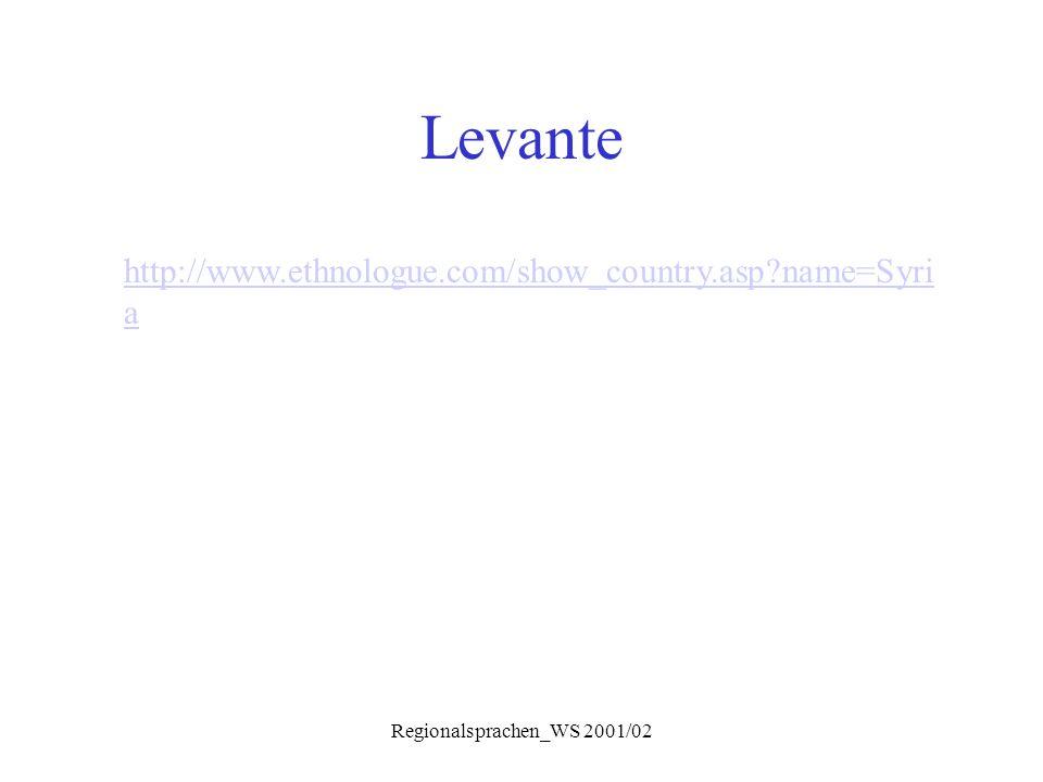 Regionalsprachen_WS 2001/02 Levante http://www.ethnologue.com/show_country.asp?name=Syri a