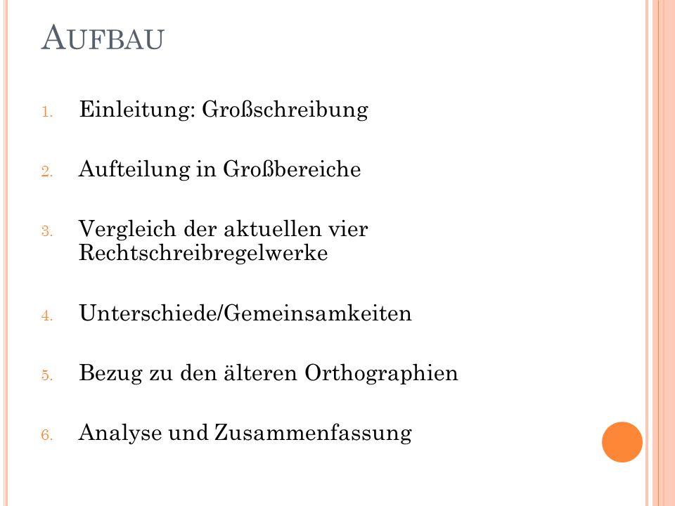 A UFBAU 1. Einleitung: Großschreibung 2. Aufteilung in Großbereiche 3. Vergleich der aktuellen vier Rechtschreibregelwerke 4. Unterschiede/Gemeinsamke