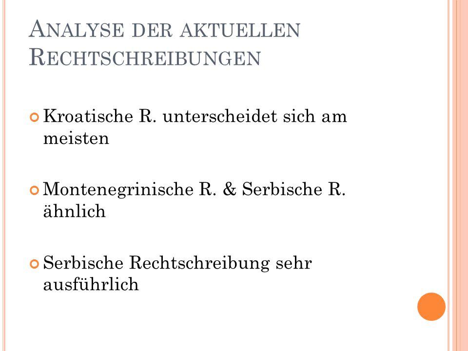 B EISPIELE FÜR U NTERSCHIEDE (1) Gedichte: unterschiedliche Regelung Gottheiten: sveti (S) / Sveti (B, K, M) Städte und Staaten: Vječni grad (B/M/S) / Vječni Grad (K)