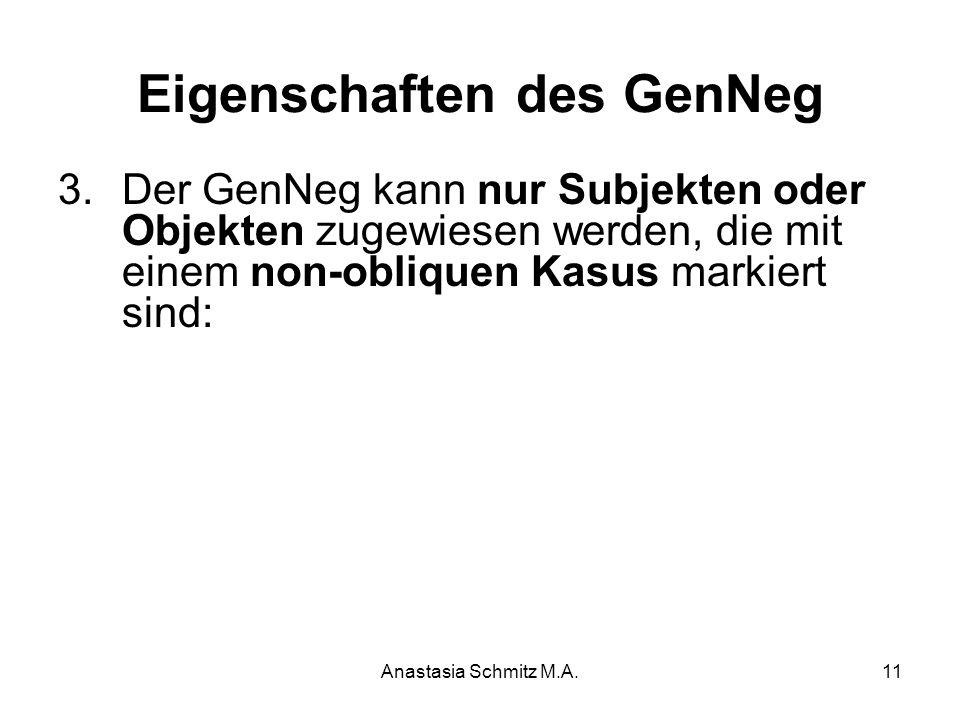 Anastasia Schmitz M.A.11 Eigenschaften des GenNeg 3.Der GenNeg kann nur Subjekten oder Objekten zugewiesen werden, die mit einem non-obliquen Kasus ma