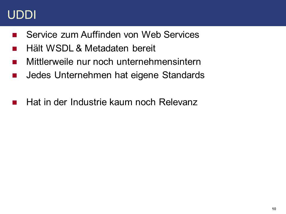 10 UDDI Service zum Auffinden von Web Services Hält WSDL & Metadaten bereit Mittlerweile nur noch unternehmensintern Jedes Unternehmen hat eigene Standards Hat in der Industrie kaum noch Relevanz