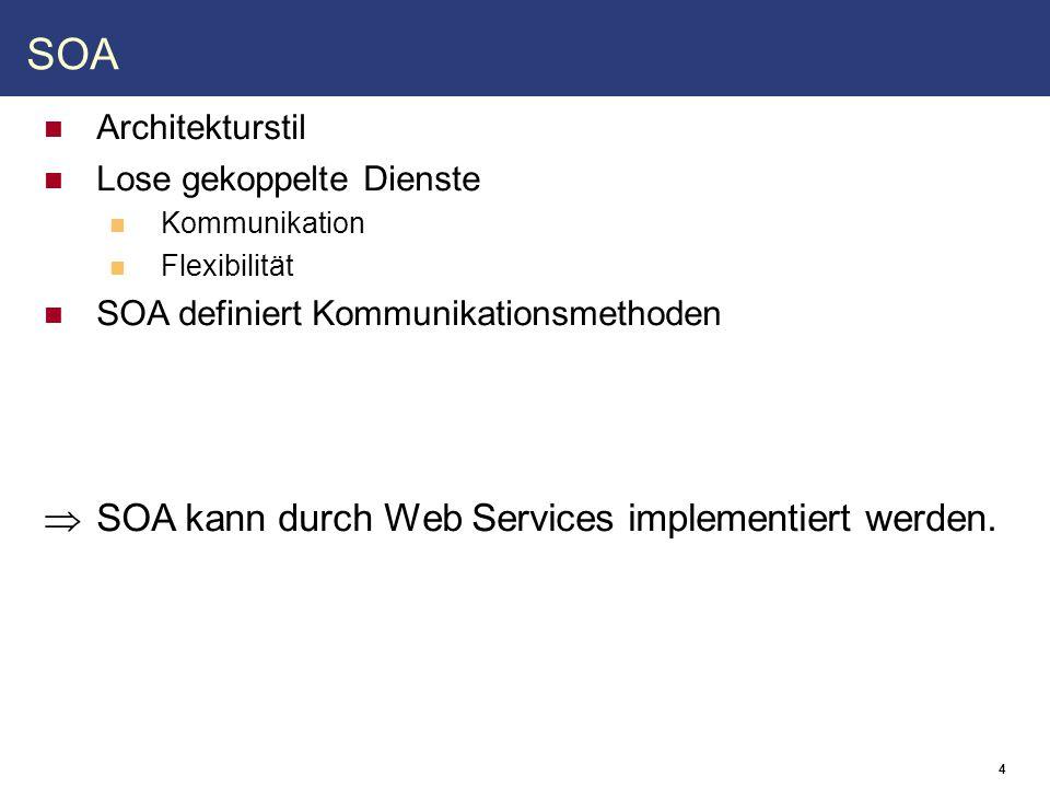 4 SOA Architekturstil Lose gekoppelte Dienste Kommunikation Flexibilität SOA definiert Kommunikationsmethoden  SOA kann durch Web Services implementiert werden.