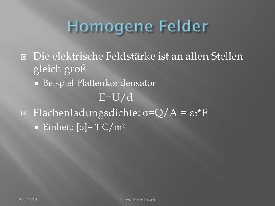  Elektrisches Feld um eine geladene Kugel  Das Feld ist von Ort zu Ort unterschiedlich stark  Die Kraft, die auf einen Probekörper wirkt, ist an verschiedenen Stellen unterschiedlich groß  Flächenladungsdichte: σ = Q/A = Q/(4 п *r²)  Elektrische Feldstärke: E= 1/ ε 0 *Q /(4 п *r²) 28.02.2013Laura Ramsbrock