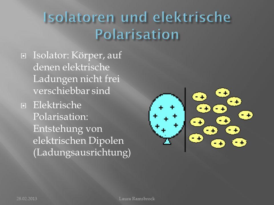  Gibt an, wie groß der Elektronenüberschuss oder Elektronenmangel eines Körpers ist  Formelzeichen: Q  Ist ein vielfaches der Elementarladung e: e=1,602*10^-19 C  Kann berechnet werden mit der Gleichung Q=n*e  Einheit der elektrischen Ladung: [Q]= 1As = 1C 28.02.2013Laura Ramsbrock