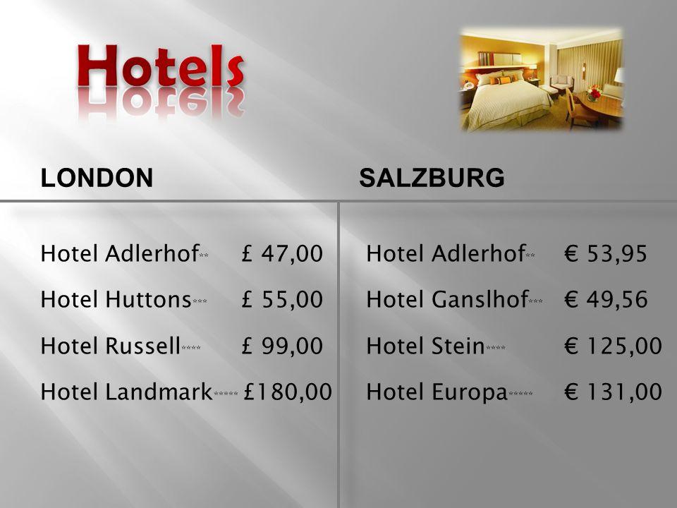 Hotel Adlerhof ** £ 47,00 Hotel Adlerhof ** € 53,95 Hotel Huttons *** £ 55,00 Hotel Ganslhof *** € 49,56 Hotel Russell **** £ 99,00 Hotel Stein **** € 125,00 Hotel Landmark ***** £180,00 Hotel Europa ***** € 131,00 LONDONSALZBURG