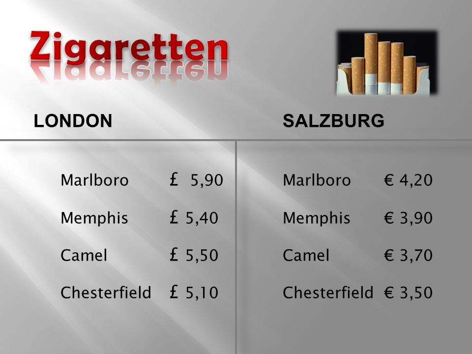 Marlboro £ 5,90Marlboro€ 4,20 Memphis £ 5,40Memphis€ 3,90 Camel £ 5,50Camel€ 3,70 Chesterfield £ 5,10Chesterfield€ 3,50