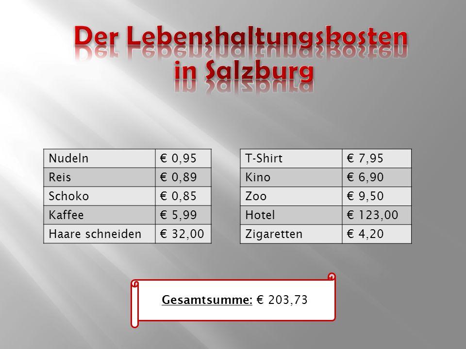Nudeln€ 0,95 Reis€ 0,89 Schoko€ 0,85 Kaffee€ 5,99 Haare schneiden€ 32,00 T-Shirt€ 7,95 Kino€ 6,90 Zoo€ 9,50 Hotel€ 123,00 Zigaretten€ 4,20 Gesamtsumme: € 203,73