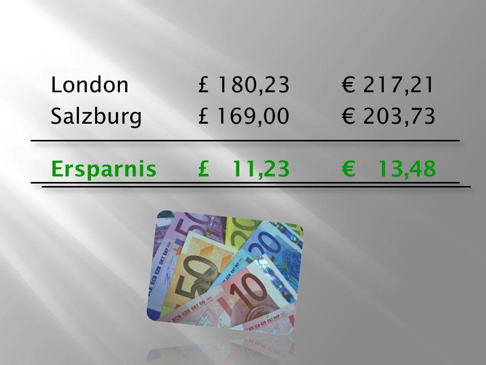 London £ 180,23€ 217,21 Salzburg£ 169,00€ 203,73 Ersparnis £ 11,23€ 13,48
