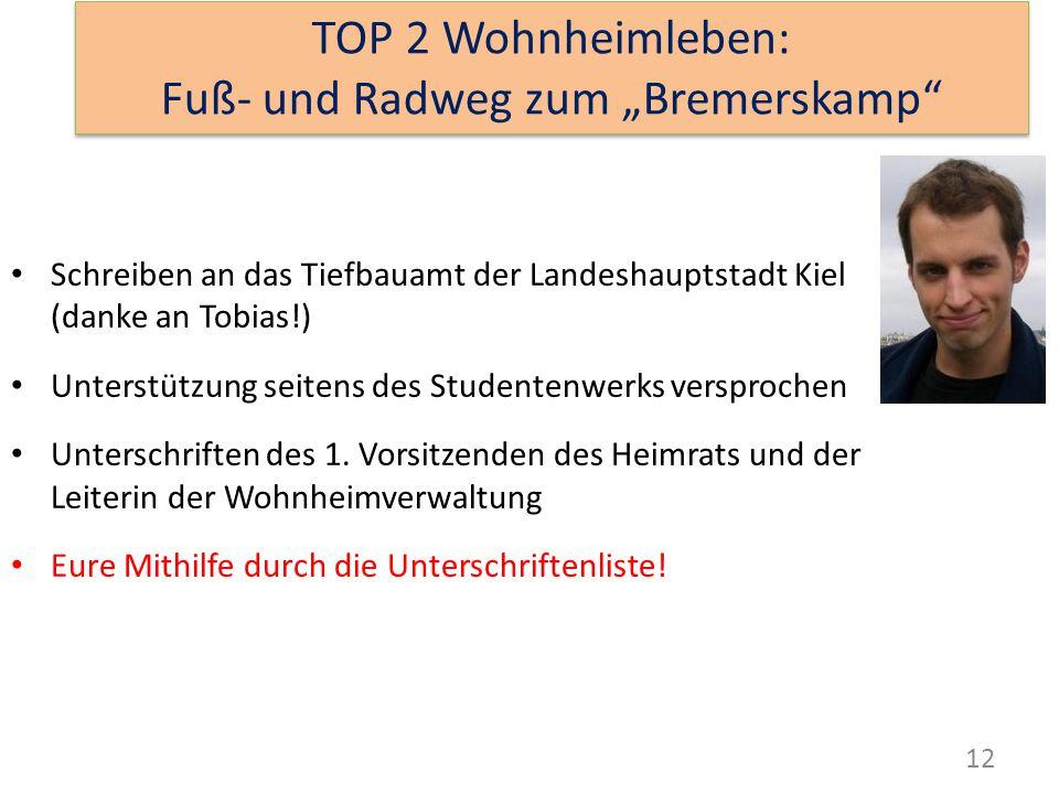 12 Schreiben an das Tiefbauamt der Landeshauptstadt Kiel (danke an Tobias!) Unterstützung seitens des Studentenwerks versprochen Unterschriften des 1.