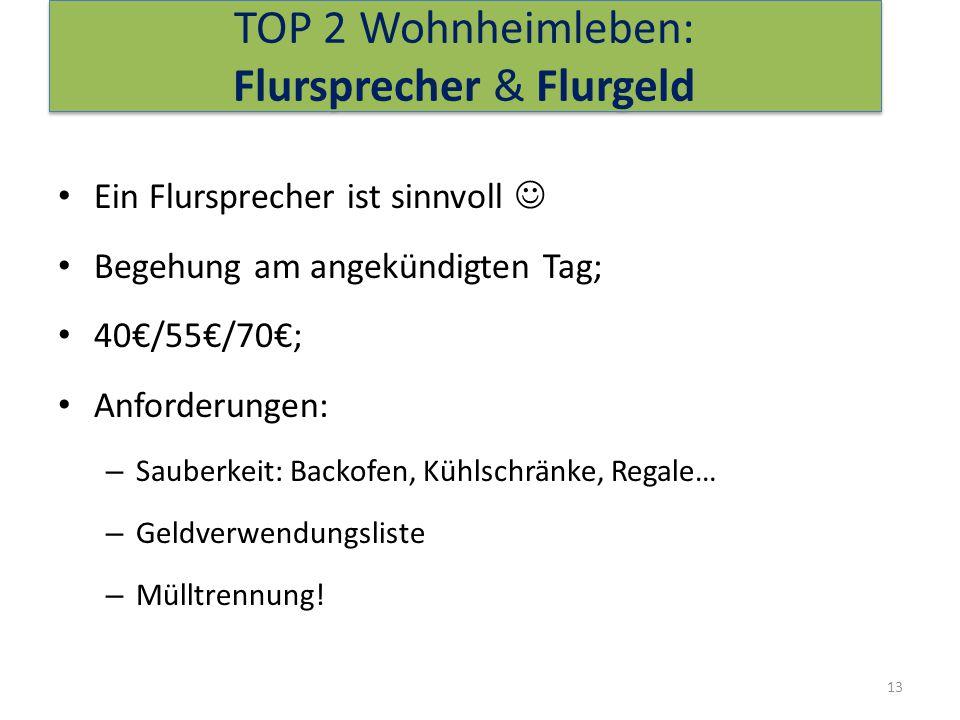 TOP 2 Wohnheimleben: Flursprecher & Flurgeld Ein Flursprecher ist sinnvoll Begehung am angekündigten Tag; 40€/55€/70€; Anforderungen: – Sauberkeit: Backofen, Kühlschränke, Regale… – Geldverwendungsliste – Mülltrennung.