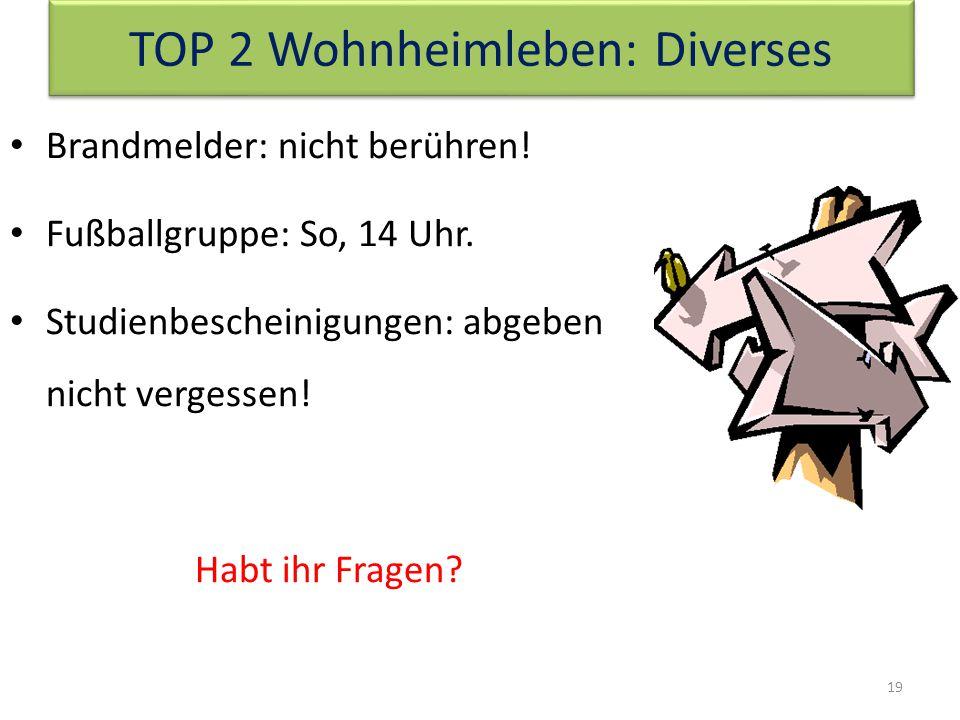 TOP 2 Wohnheimleben: Diverses 19 Brandmelder: nicht berühren.