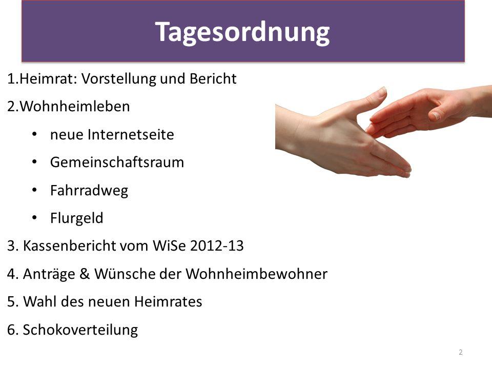 Tagesordnung 2 1.Heimrat: Vorstellung und Bericht 2.Wohnheimleben neue Internetseite Gemeinschaftsraum Fahrradweg Flurgeld 3.