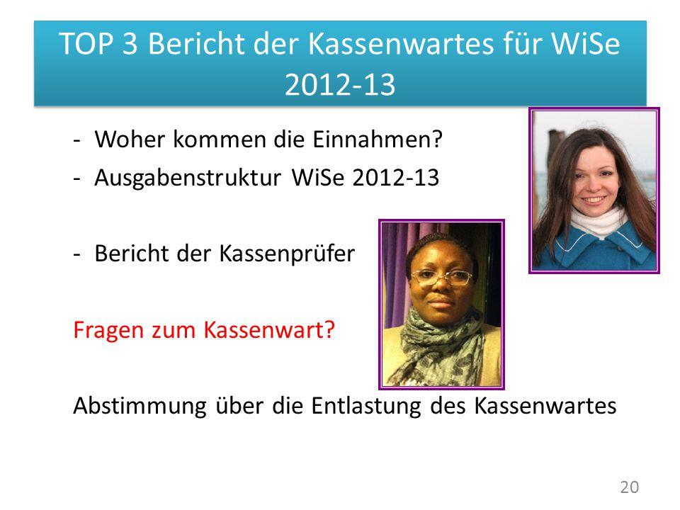 TOP 3 Bericht der Kassenwartes für WiSe 2012-13 -Woher kommen die Einnahmen.