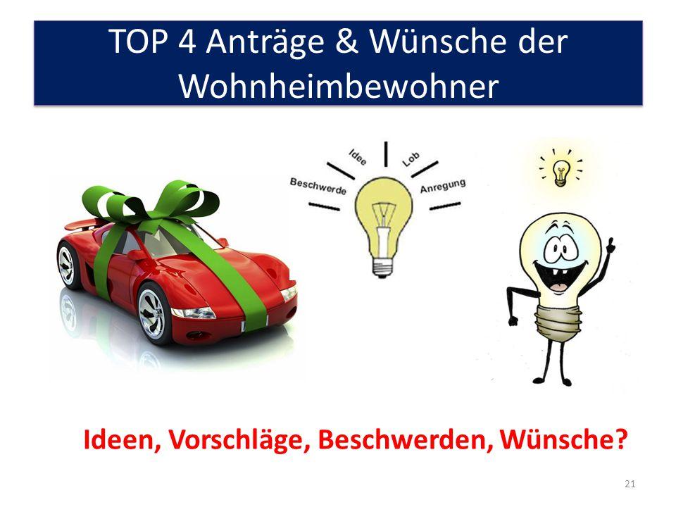 TOP 4 Anträge & Wünsche der Wohnheimbewohner 21 Ideen, Vorschläge, Beschwerden, Wünsche?