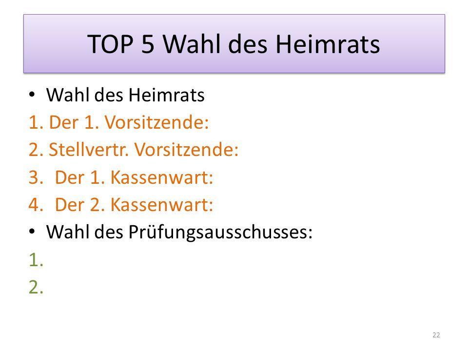 TOP 5 Wahl des Heimrats Wahl des Heimrats 1. Der 1.