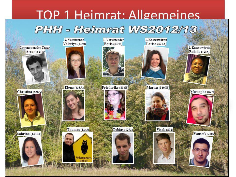 TOP 1 Heimrat: Allgemeines 3 1x pro Semester von der Heimvollversammlung gewählt setzt sich aus max.