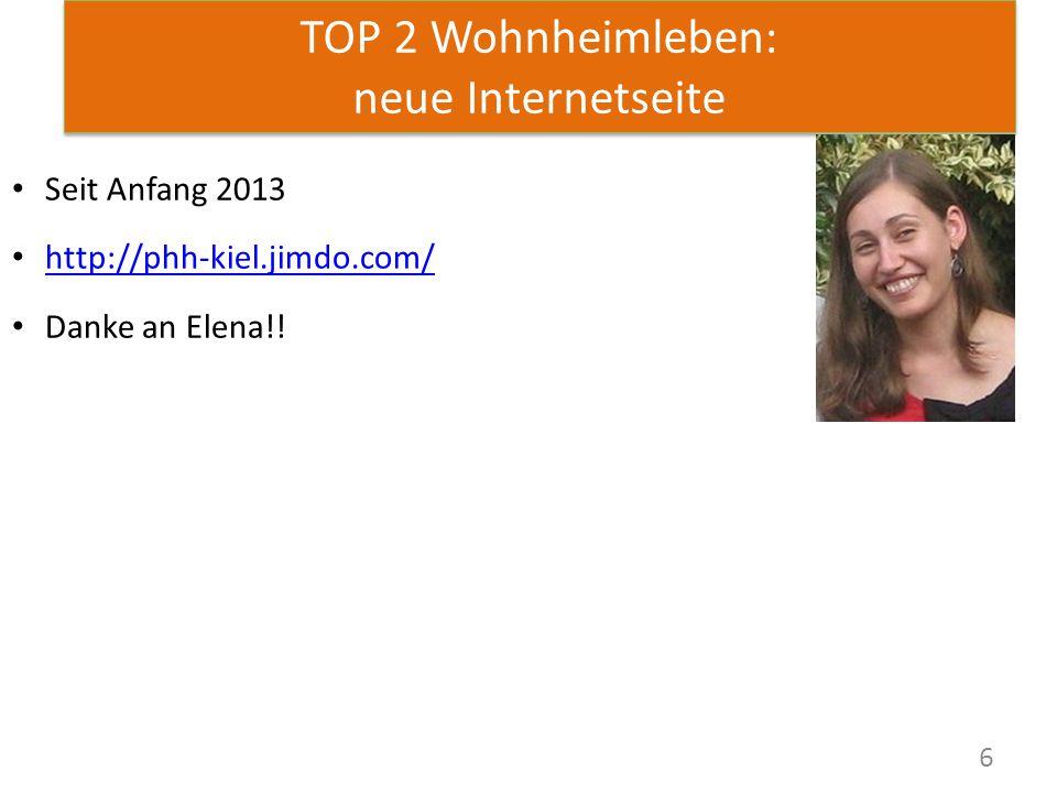 6 TOP 2 Wohnheimleben: neue Internetseite Seit Anfang 2013 http://phh-kiel.jimdo.com/ Danke an Elena!!