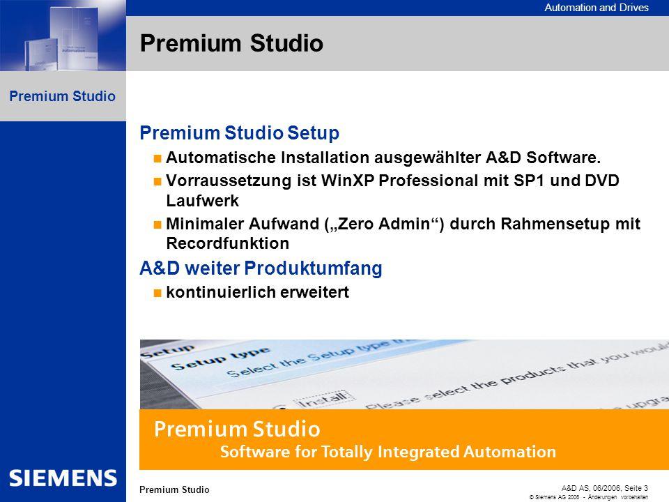 Automation and Drives A&D AS, 06/2006, Seite 3 © Siemens AG 2006 - Änderungen vorbehalten Premium Studio Premium Studio Setup Automatische Installatio