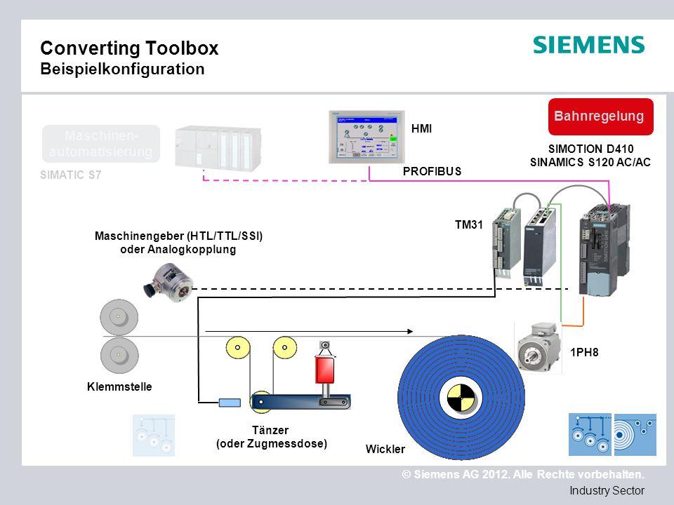 © Siemens AG 2012. Alle Rechte vorbehalten. Industry Sector Converting Toolbox Beispielkonfiguration SIMATIC S7 Maschinen- automatisierung PROFIBUS HM