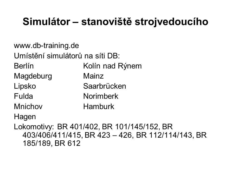 Simulátor – stanoviště strojvedoucího www.db-training.de Umístění simulátorů na síti DB: BerlínKolín nad Rýnem MagdeburgMainz LipskoSaarbrücken Fulda
