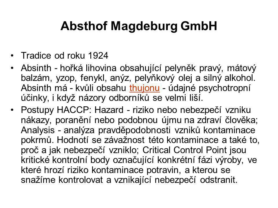 Absthof Magdeburg GmbH Tradice od roku 1924 Absinth - hořká lihovina obsahující pelyněk pravý, mátový balzám, yzop, fenykl, anýz, pelyňkový olej a sil