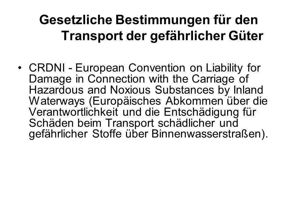 Gesetzliche Bestimmungen für den Transport der gefährlicher Güter CRDNI - European Convention on Liability for Damage in Connection with the Carriage