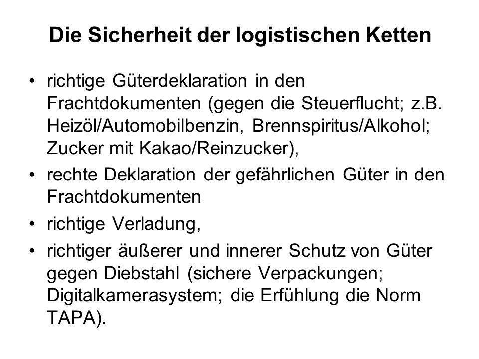 Die Sicherheit der logistischen Ketten richtige Güterdeklaration in den Frachtdokumenten (gegen die Steuerflucht; z.B. Heizöl/Automobilbenzin, Brennsp