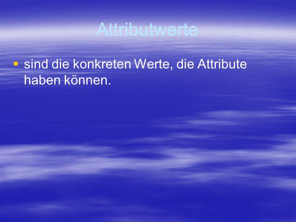 Attributwerte   sind die konkreten Werte, die Attribute haben können.