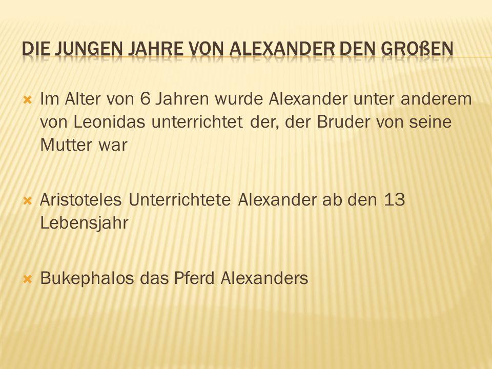  Im Alter von 6 Jahren wurde Alexander unter anderem von Leonidas unterrichtet der, der Bruder von seine Mutter war  Aristoteles Unterrichtete Alexa