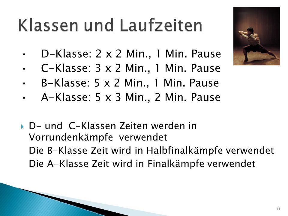 D-Klasse: 2 x 2 Min., 1 Min. Pause C-Klasse: 3 x 2 Min., 1 Min. Pause B-Klasse: 5 x 2 Min., 1 Min. Pause A-Klasse: 5 x 3 Min., 2 Min. Pause  D- und C