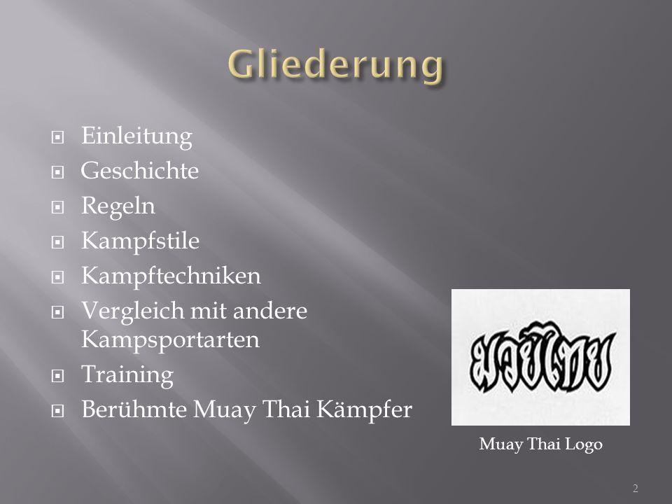  Einleitung  Geschichte  Regeln  Kampfstile  Kampftechniken  Vergleich mit andere Kampsportarten  Training  Berühmte Muay Thai Kämpfer Muay Th