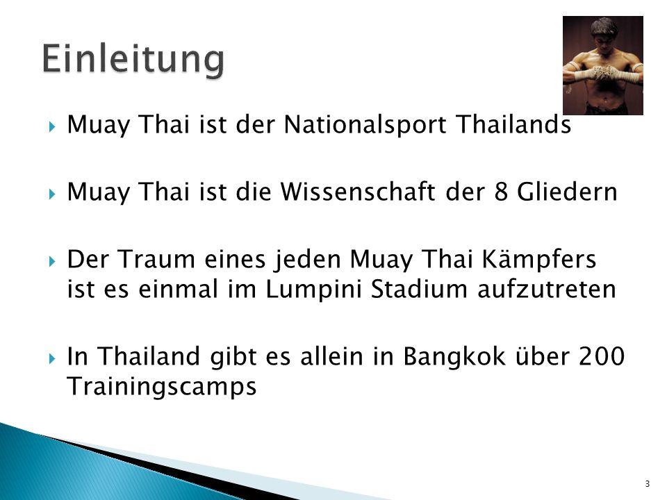  Muay Thai ist der Nationalsport Thailands  Muay Thai ist die Wissenschaft der 8 Gliedern  Der Traum eines jeden Muay Thai Kämpfers ist es einmal im Lumpini Stadium aufzutreten  In Thailand gibt es allein in Bangkok über 200 Trainingscamps 3