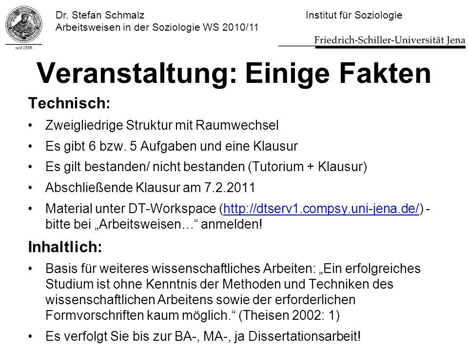 Dr. Stefan Schmalz Institut für Soziologie Arbeitsweisen in der Soziologie WS 2010/11 Veranstaltung: Einige Fakten Technisch: Zweigliedrige Struktur m