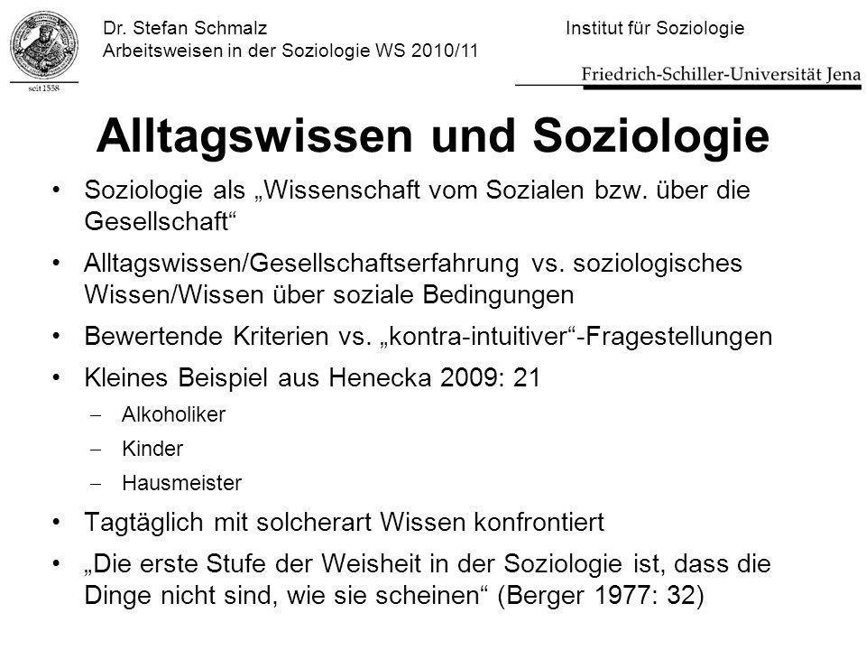 """Dr. Stefan Schmalz Institut für Soziologie Arbeitsweisen in der Soziologie WS 2010/11 Alltagswissen und Soziologie Soziologie als """"Wissenschaft vom So"""