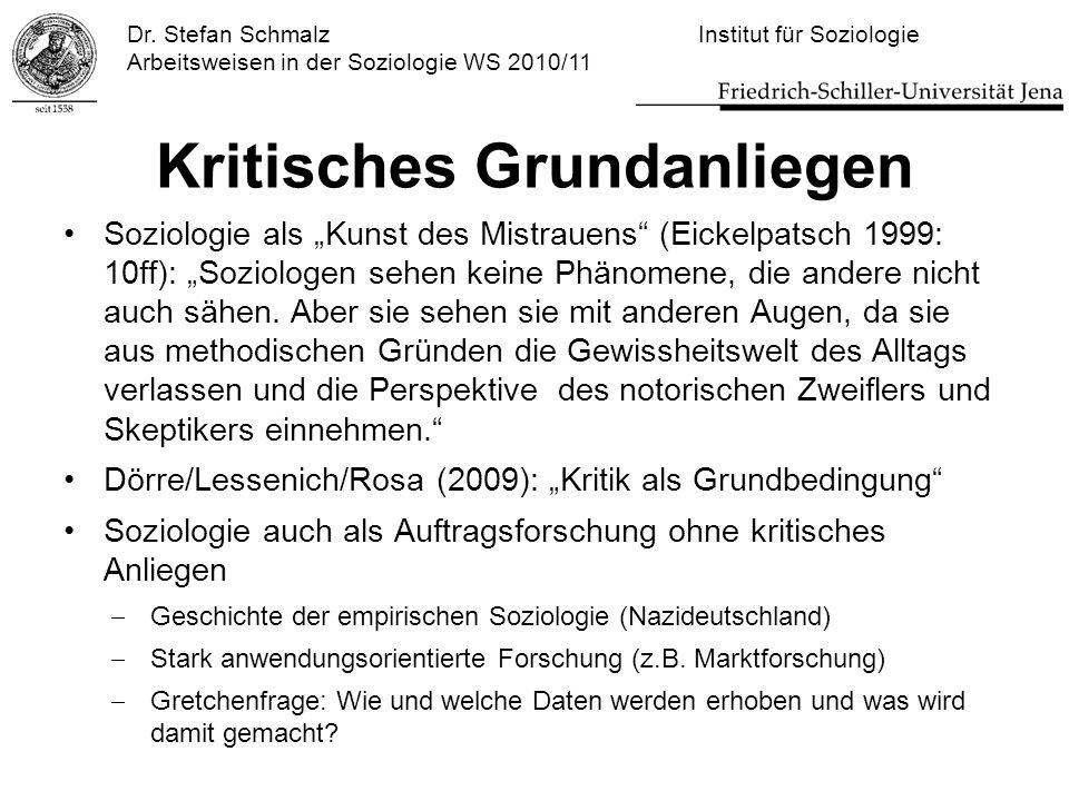 """Dr. Stefan Schmalz Institut für Soziologie Arbeitsweisen in der Soziologie WS 2010/11 Kritisches Grundanliegen Soziologie als """"Kunst des Mistrauens"""" ("""