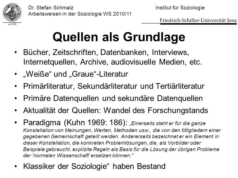 Dr. Stefan Schmalz Institut für Soziologie Arbeitsweisen in der Soziologie WS 2010/11 Quellen als Grundlage Bücher, Zeitschriften, Datenbanken, Interv