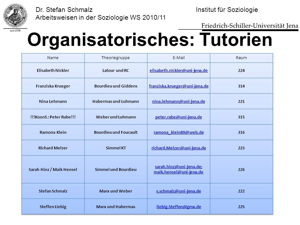 Dr. Stefan Schmalz Institut für Soziologie Arbeitsweisen in der Soziologie WS 2010/11 Organisatorisches: Tutorien