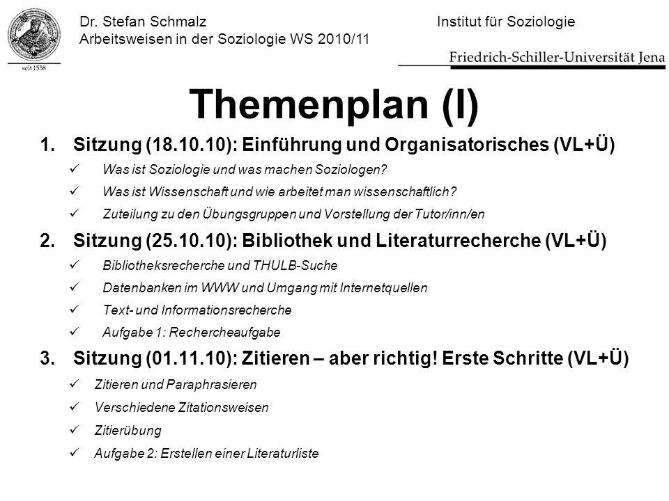Dr. Stefan Schmalz Institut für Soziologie Arbeitsweisen in der Soziologie WS 2010/11 Themenplan (I) 1.Sitzung (18.10.10): Einführung und Organisatori
