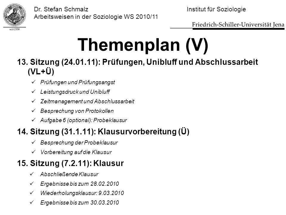 Dr. Stefan Schmalz Institut für Soziologie Arbeitsweisen in der Soziologie WS 2010/11 Themenplan (V) 13. Sitzung (24.01.11): Prüfungen, Unibluff und A