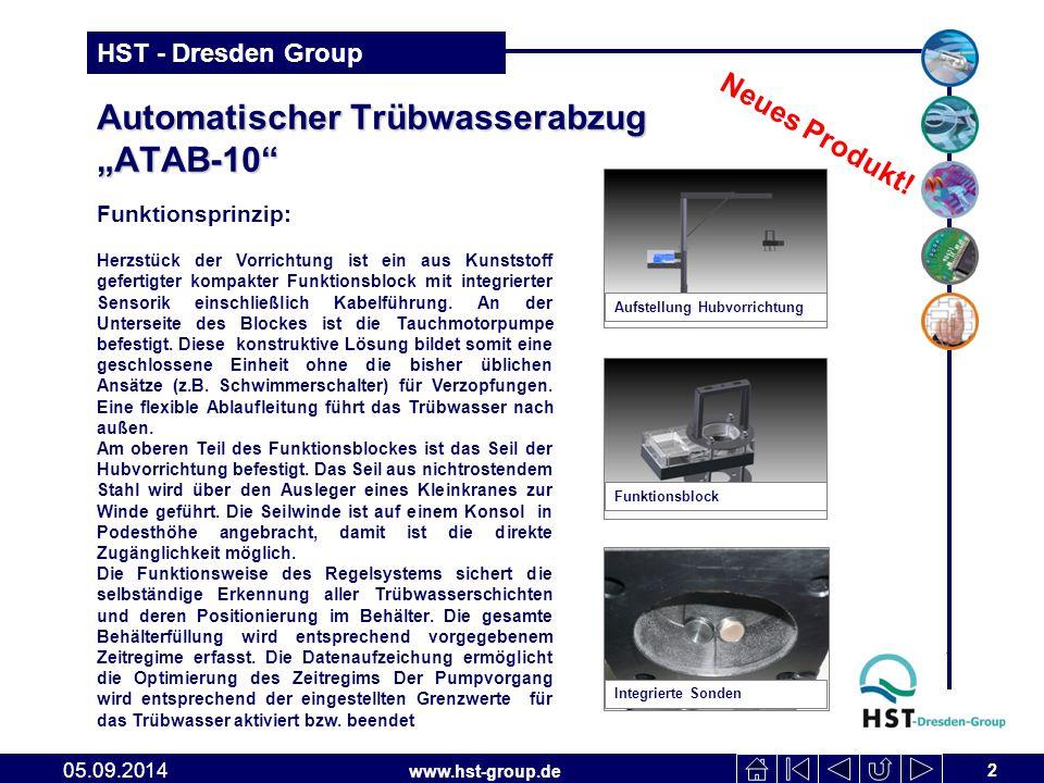 """www.hst-group.de HST - Dresden Group Automatischer Trübwasserabzug """"ATAB-10"""" 2 05.09.2014 Funktionsprinzip: Herzstück der Vorrichtung ist ein aus Kuns"""