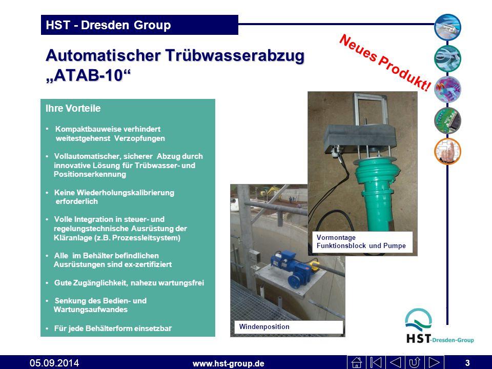 """www.hst-group.de HST - Dresden Group Automatischer Trübwasserabzug """"ATAB-10"""" 3 05.09.2014 Ihre Vorteile Kompaktbauweise verhindert weitestgehenst Verz"""