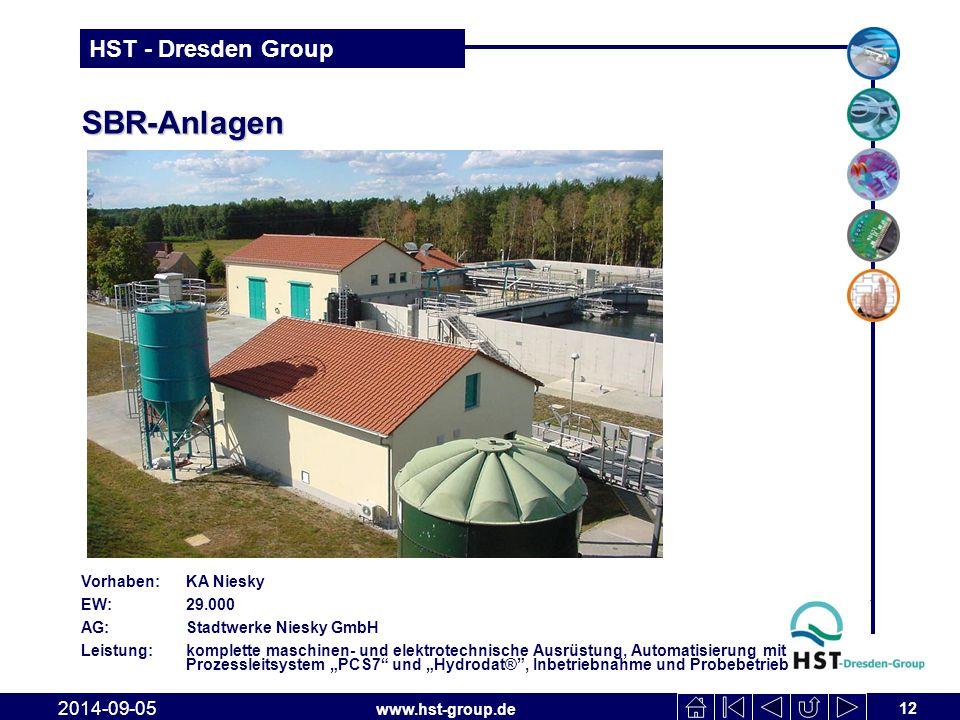 www.hst-group.de HST - Dresden Group SBR-Anlagen 12 2014-09-05 Vorhaben: KA Niesky EW: 29.000 AG: Stadtwerke Niesky GmbH Leistung: komplette maschinen
