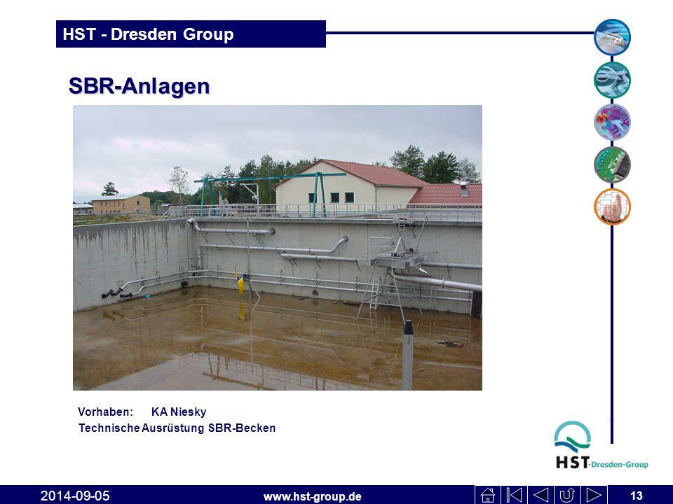www.hst-group.de HST - Dresden Group SBR-Anlagen 13 2014-09-05 Vorhaben: KA Niesky Technische Ausrüstung SBR-Becken