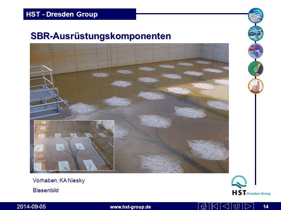 www.hst-group.de HST - Dresden Group 14 2014-09-05 SBR-Ausrüstungskomponenten Vorhaben: KA Niesky Blasenbild