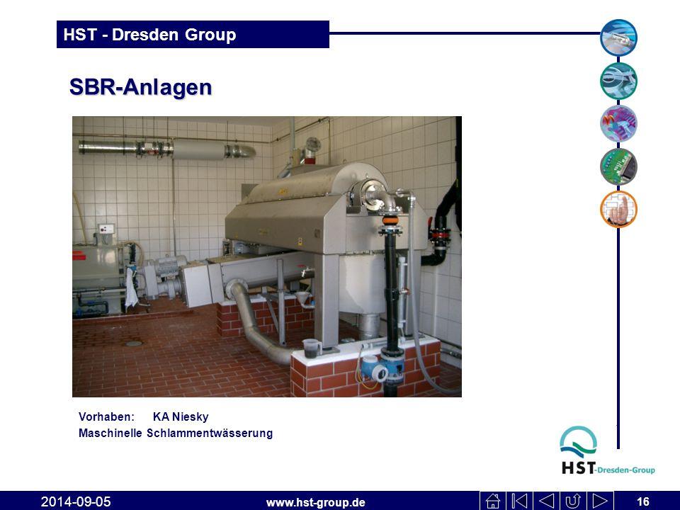 www.hst-group.de HST - Dresden Group SBR-Anlagen 16 2014-09-05 Vorhaben: KA Niesky Maschinelle Schlammentwässerung